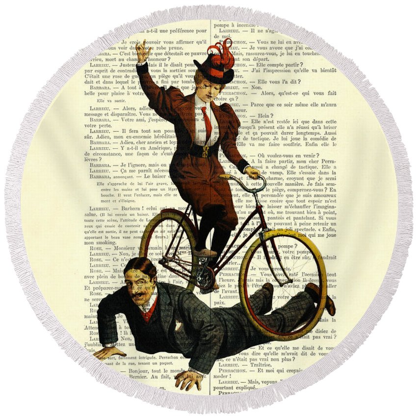Woman Round Beach Towel featuring the digital art Woman On Bicycle Riding Over Man by Madame Memento