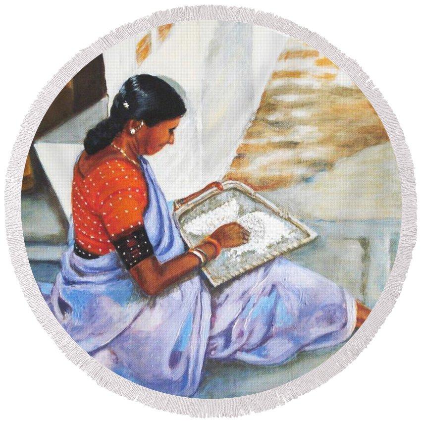 Usha Round Beach Towel featuring the painting Woman Picking Rice by Usha Shantharam