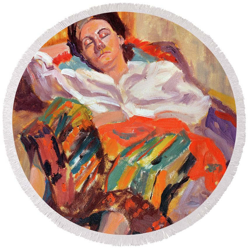 Portrait Round Beach Towel featuring the painting Woman Sleeping by Keith Burgess