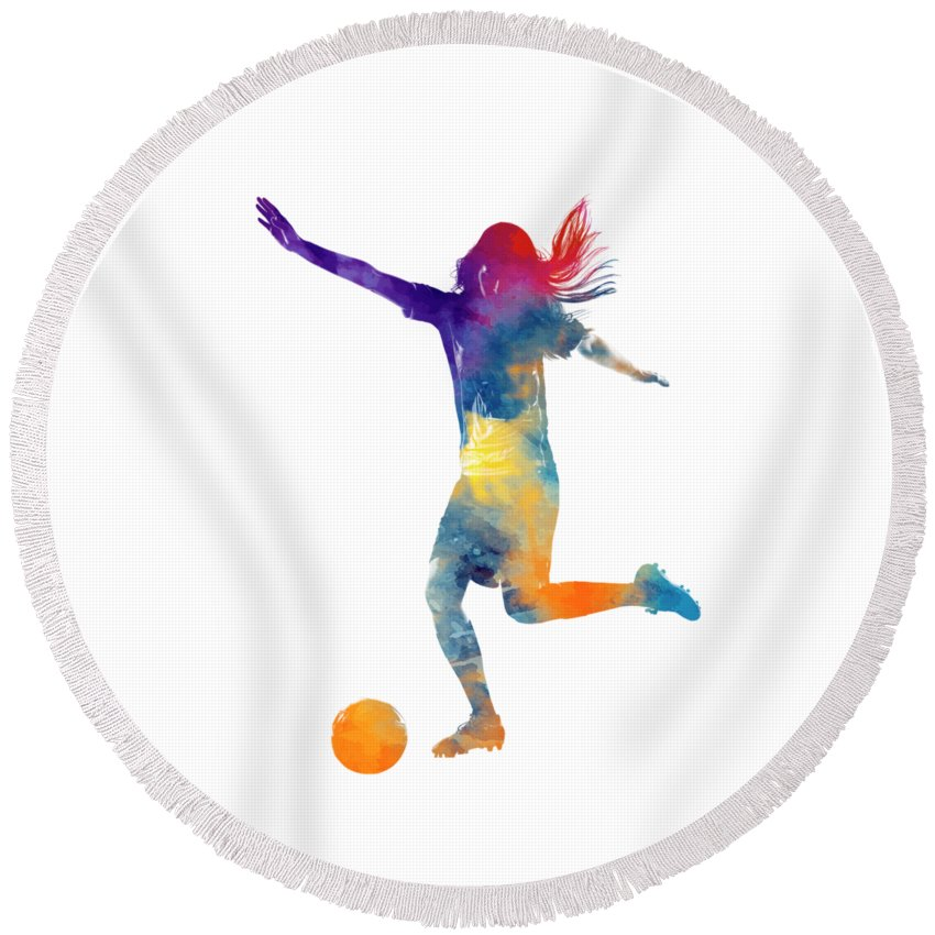 d19c937cb04 Soccer Round Beach Towel featuring the painting Woman Soccer Player 07 In  Watercolor by Pablo Romero