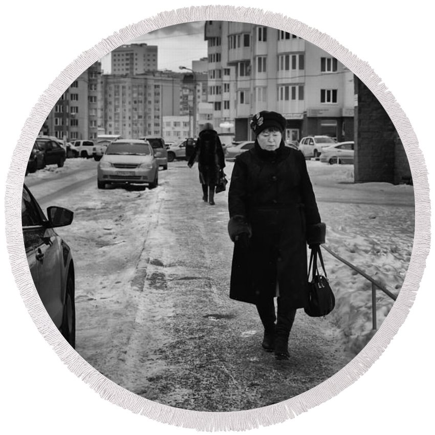 Woman Round Beach Towel featuring the photograph Woman Walking On Path In Russia by John Williams