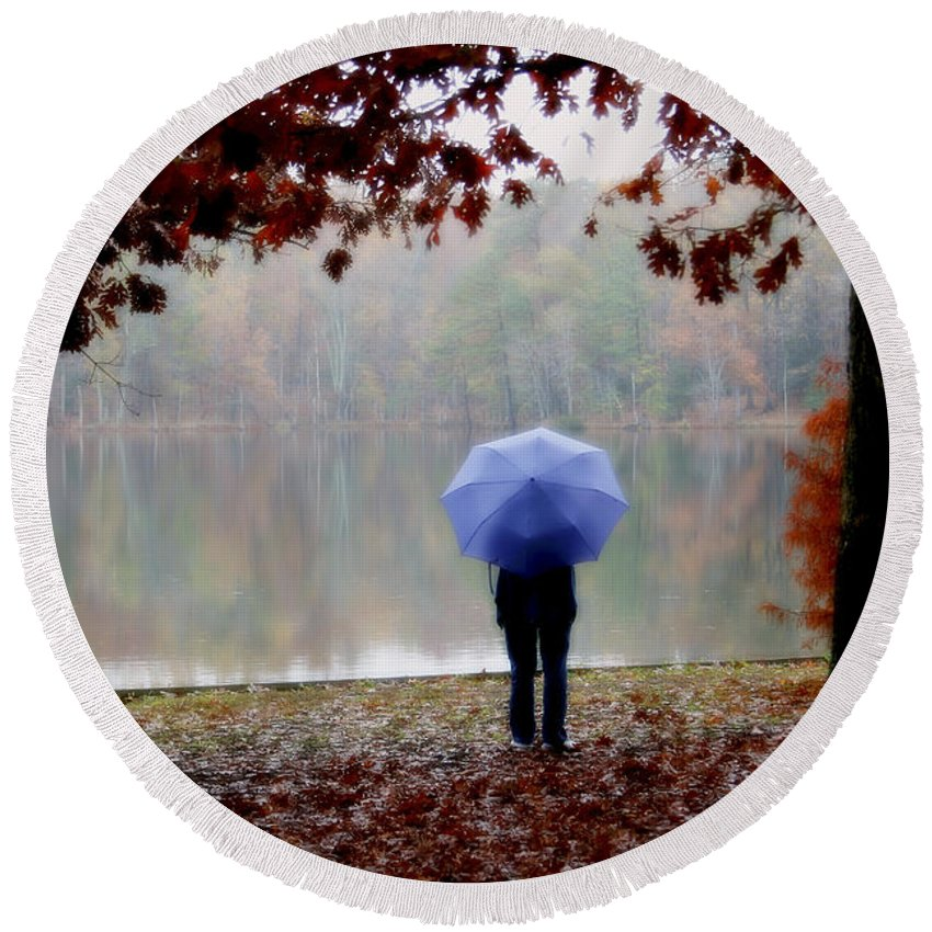 Park Round Beach Towel featuring the photograph Woman With A Blue Umbrella by Amy Jackson
