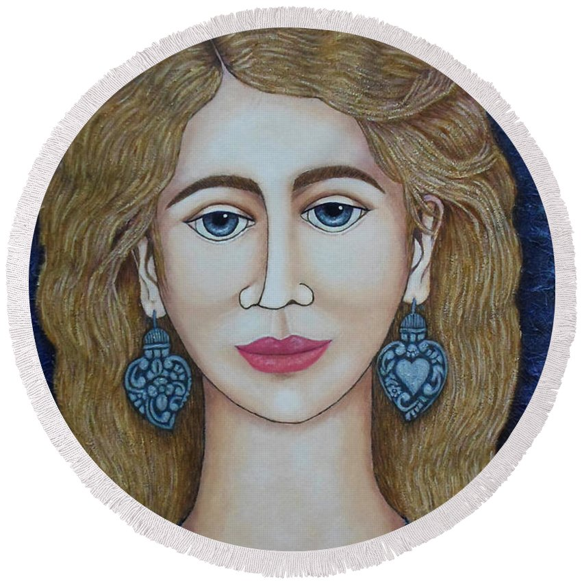 Woman Round Beach Towel featuring the painting Woman With Silver Earrings by Madalena Lobao-Tello