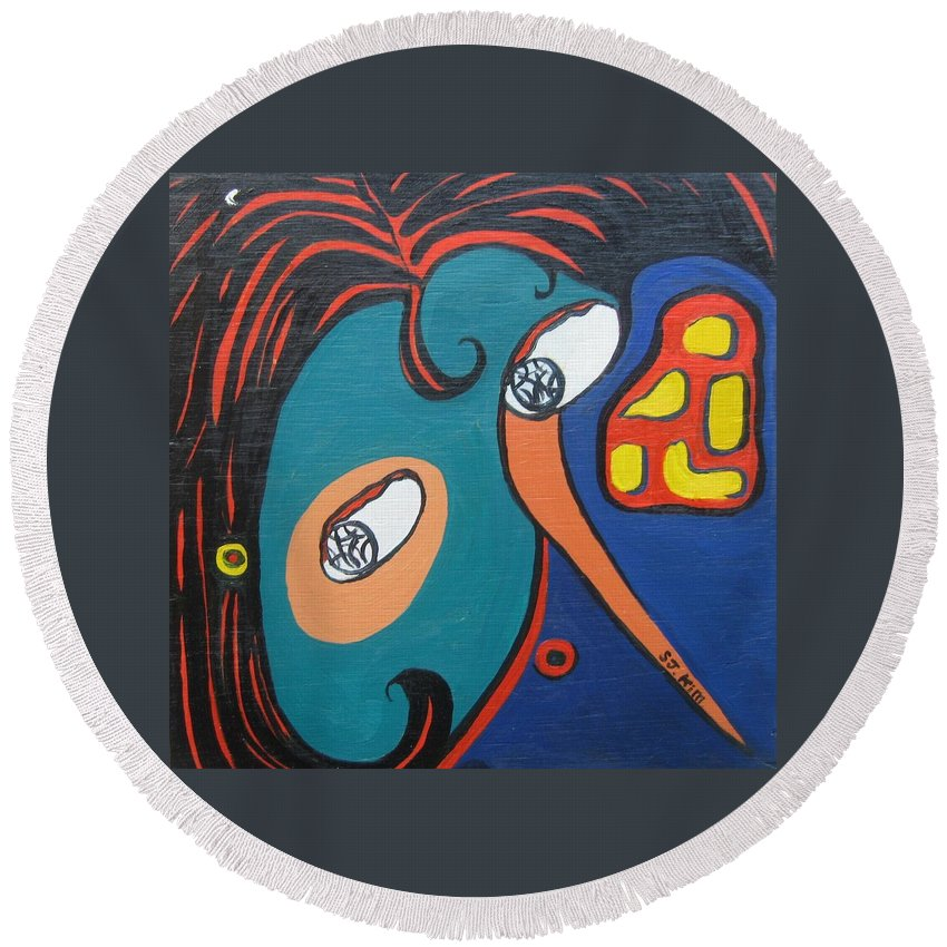 Abstract Paintings Round Beach Towel featuring the painting Woman12 by Seon-Jeong Kim