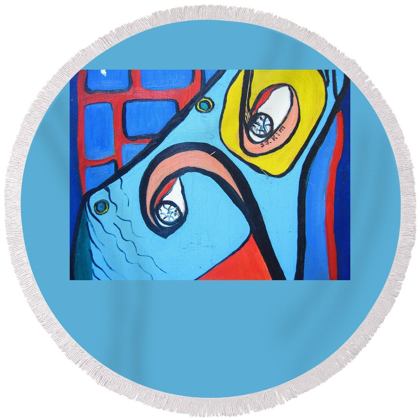 Woman Paintings Round Beach Towel featuring the painting Woman13 by Seon-Jeong Kim