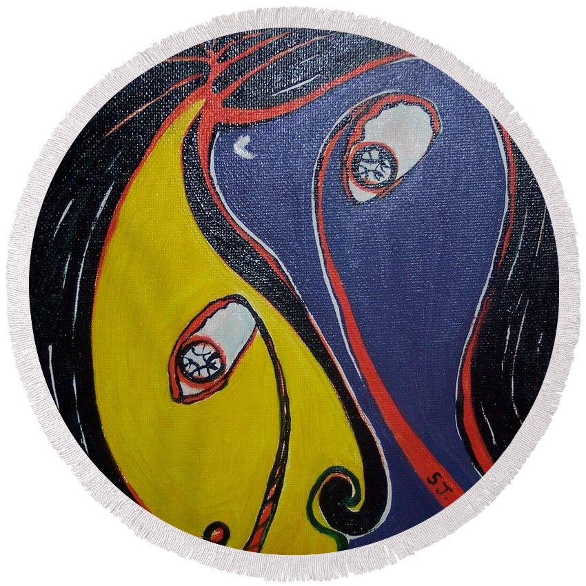 Yellow Paintings Round Beach Towel featuring the painting Woman21 by Seon-Jeong Kim