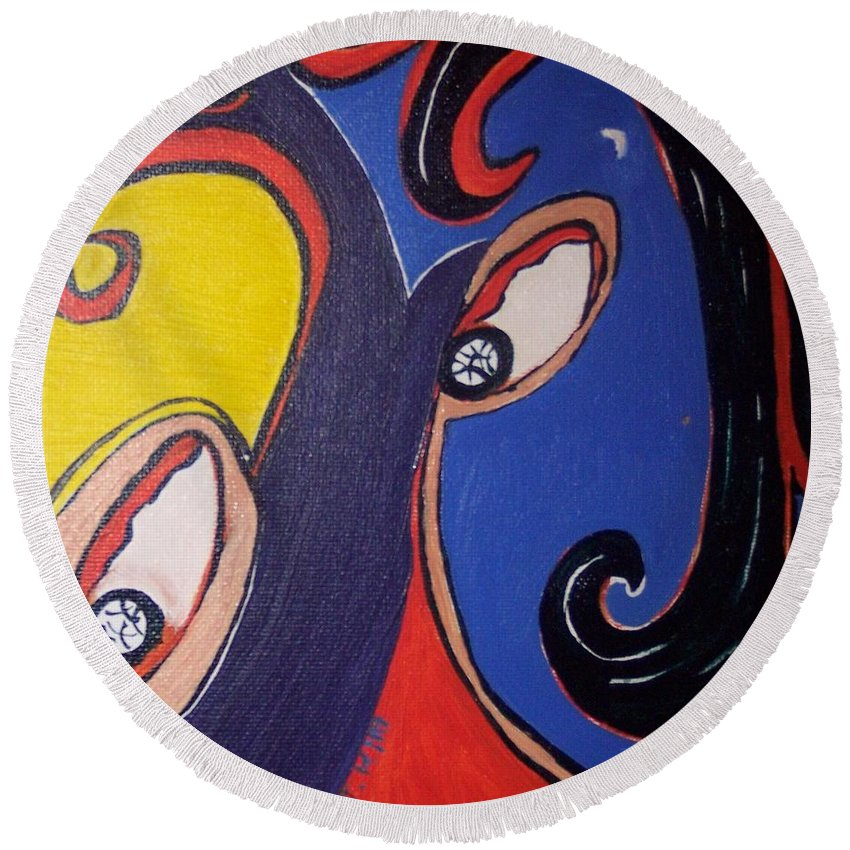Abstract Paintings Round Beach Towel featuring the painting Woman30 by Seon-Jeong Kim