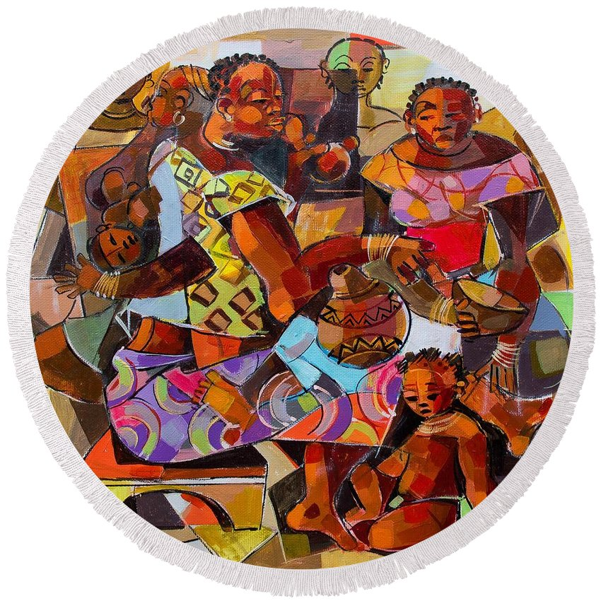 Zambia Round Beach Towel featuring the painting Women And Children by Bantu M