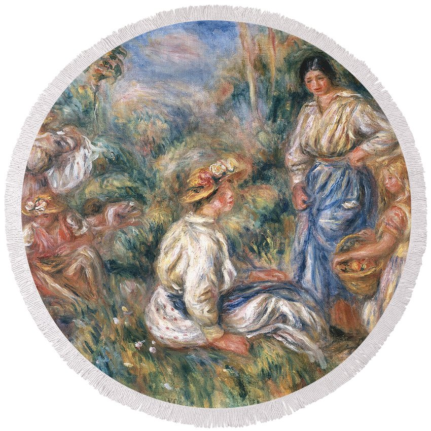 Women Round Beach Towel featuring the painting Women In A Landscape by Renoir
