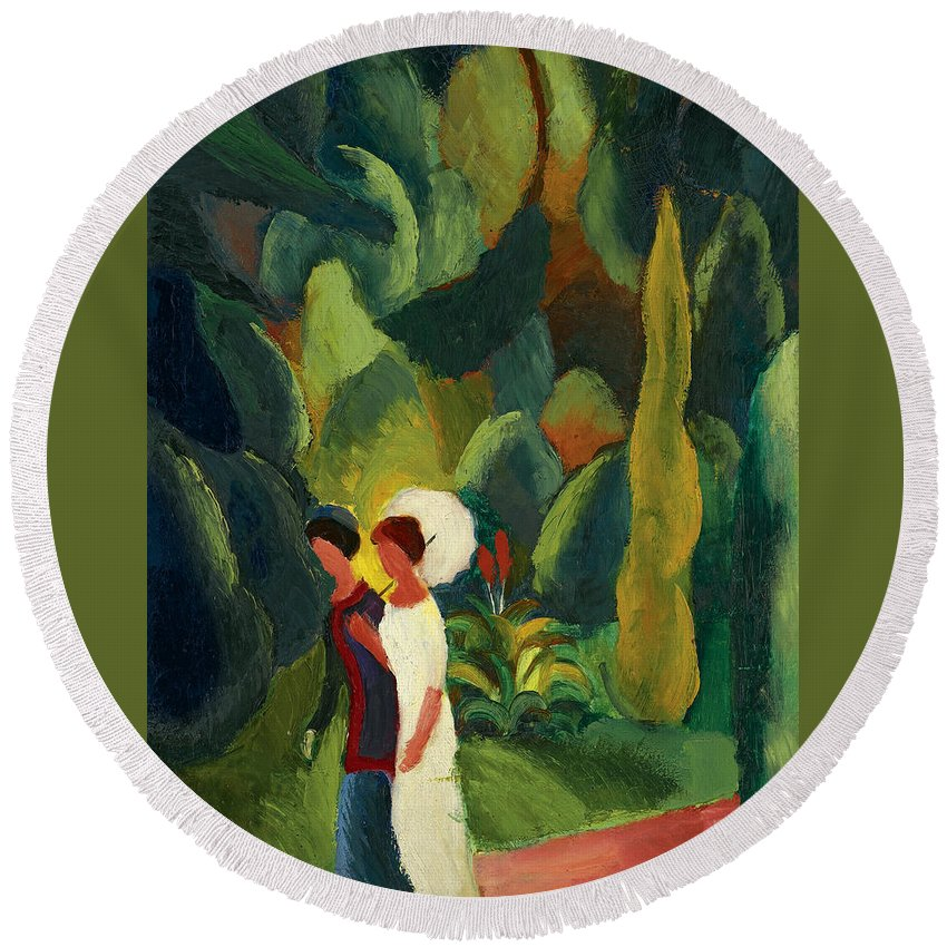 August Macke Round Beach Towel featuring the painting Women In A Park With A White Parasol by August Macke