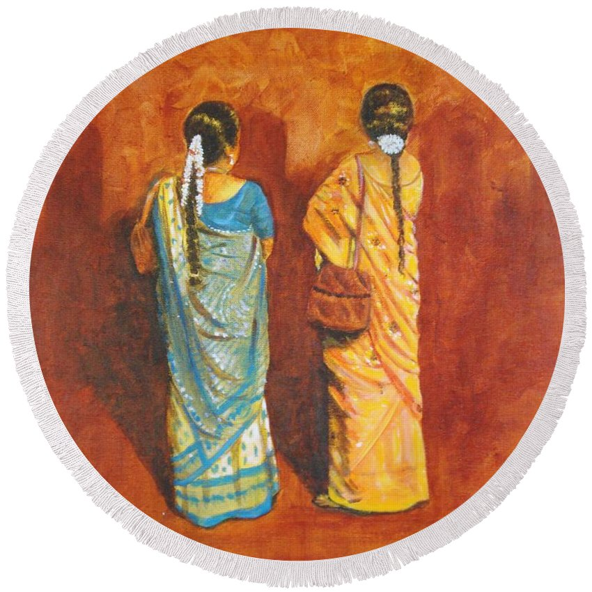 Women Round Beach Towel featuring the painting Women In Sarees by Usha Shantharam