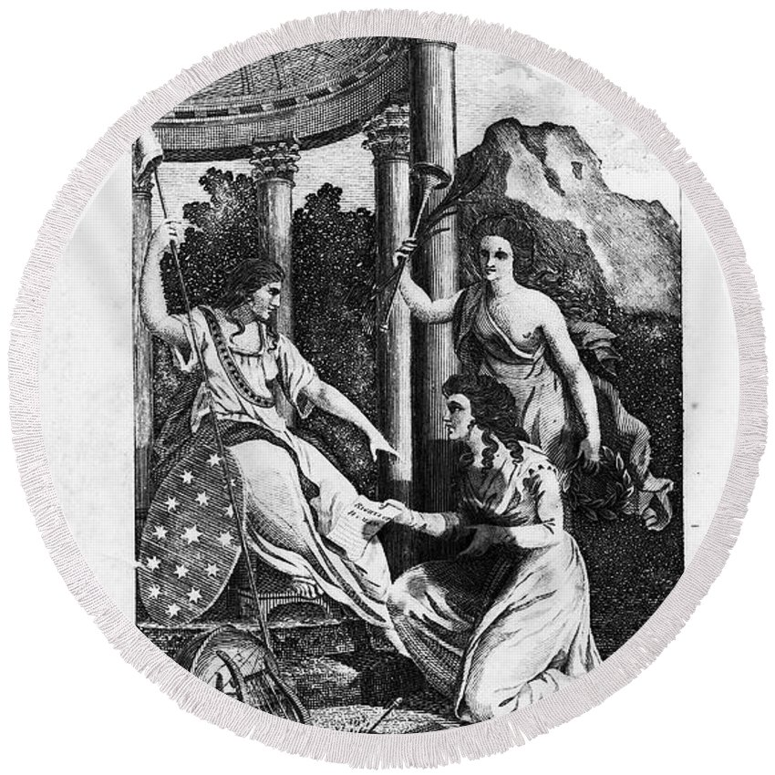 1792 Round Beach Towel featuring the photograph Womens Rights, 1792 by Granger
