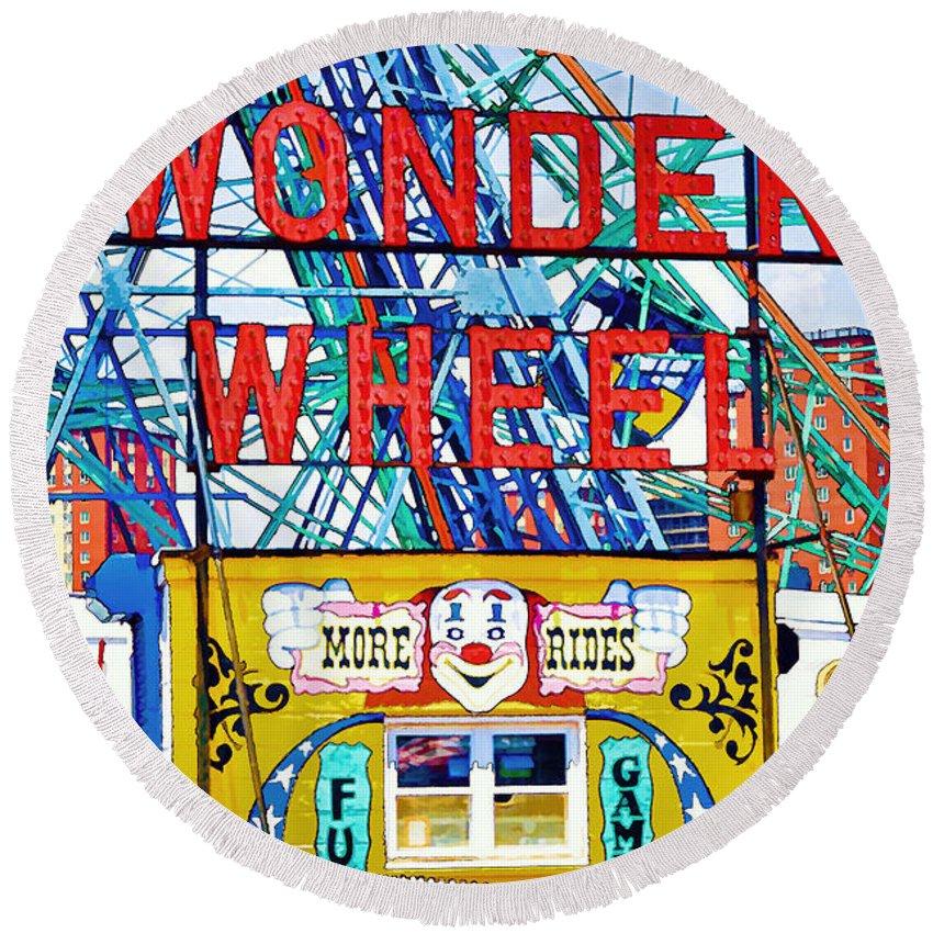 Wonder Wheel Amusement Park Round Beach Towel featuring the painting Wonder Wheel Amusement Park 10 by Jeelan Clark