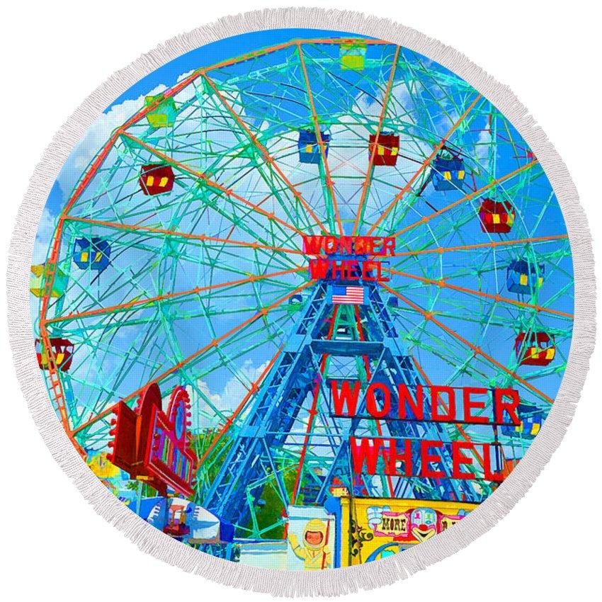 Wonder Wheel Amusement Park Round Beach Towel featuring the painting Wonder Wheel Amusement Park 7 by Jeelan Clark