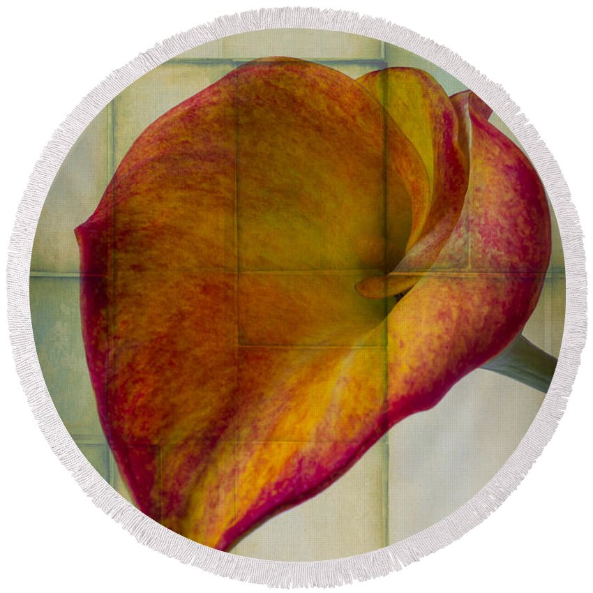 Graphic Round Beach Towel featuring the photograph Wonderful Calla Lily by Garry Gay