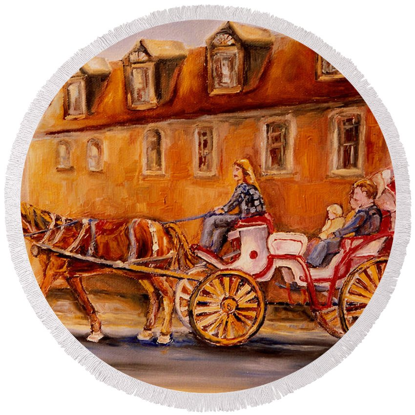 Quebec City Round Beach Towel featuring the painting Wonderful Carriage Ride by Carole Spandau