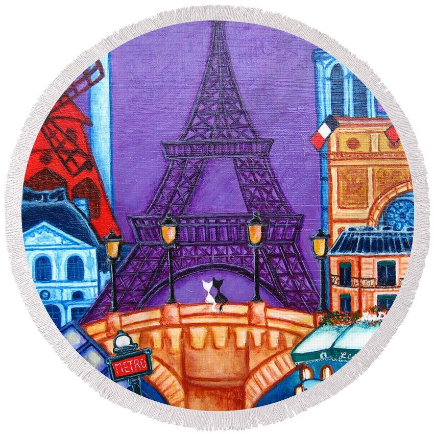 Paris Round Beach Towel featuring the painting Wonders Of Paris by Lisa Lorenz