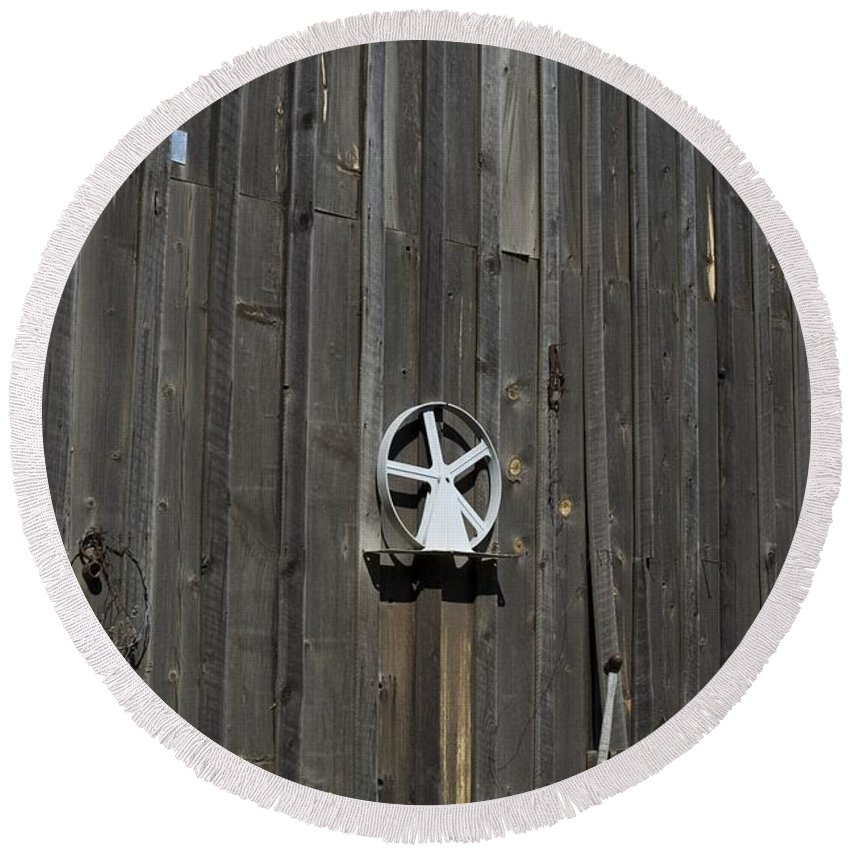 Old Barn Round Beach Towel featuring the photograph Wood And Wheel by Sara Stevenson