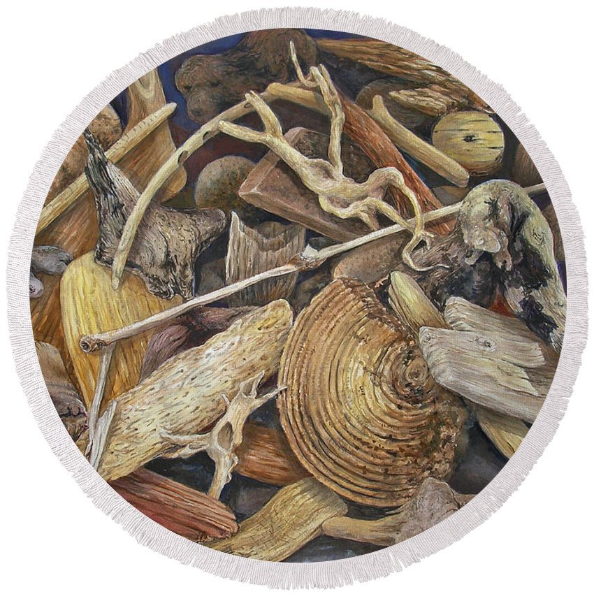 Driftwood Round Beach Towel featuring the painting Wood Creatures by Valerie Meotti