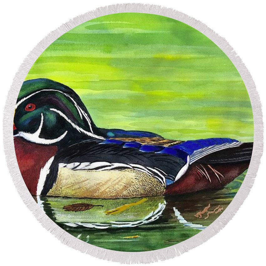 Wood Duck Round Beach Towel featuring the painting Wood Duck by Raymond Edmonds