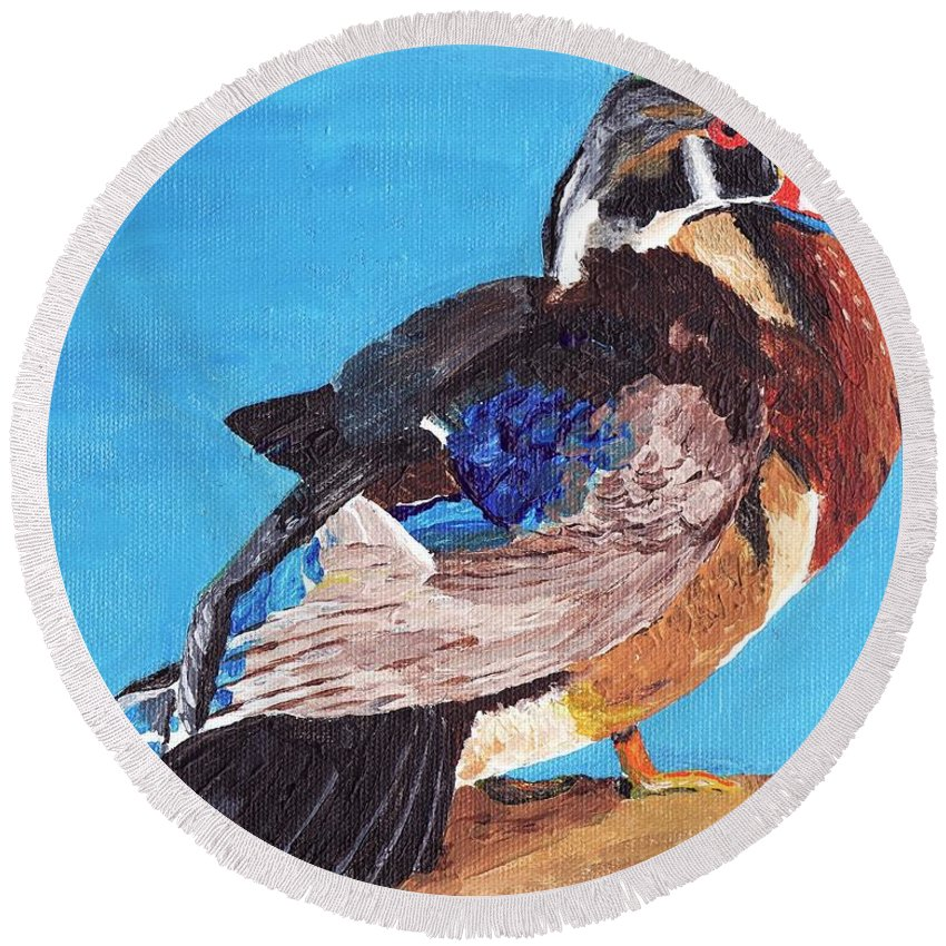 Ducks Round Beach Towel featuring the painting Wood Duck by Rodney Campbell