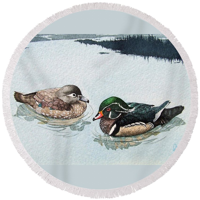 Ducks Round Beach Towel featuring the painting Wood Ducks by Gale Cochran-Smith