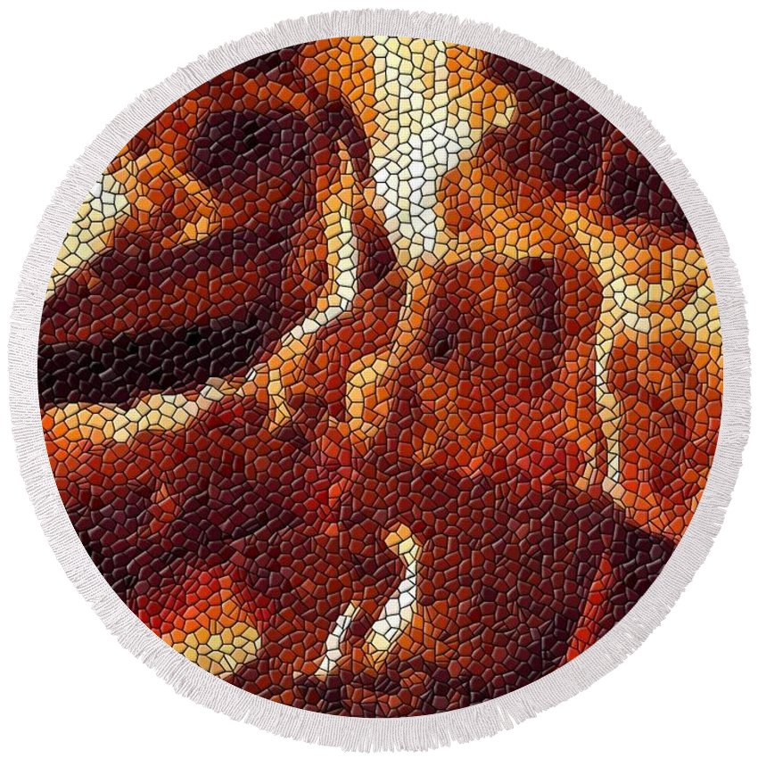 Wood Round Beach Towel featuring the digital art Wood Fire Mosaic by Tim Allen