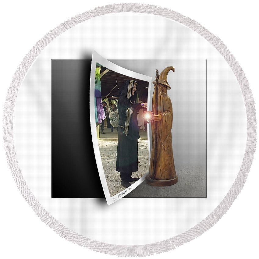 2d Round Beach Towel featuring the photograph Wood Spell by Brian Wallace