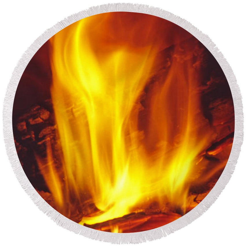 Fire Round Beach Towel featuring the photograph Wood Stove - Blazing Log Fire by Steve Ohlsen