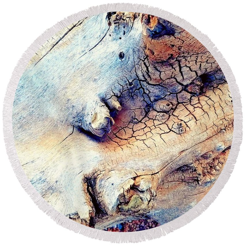 Altered Round Beach Towel featuring the digital art Wood by Tammie Sisneros