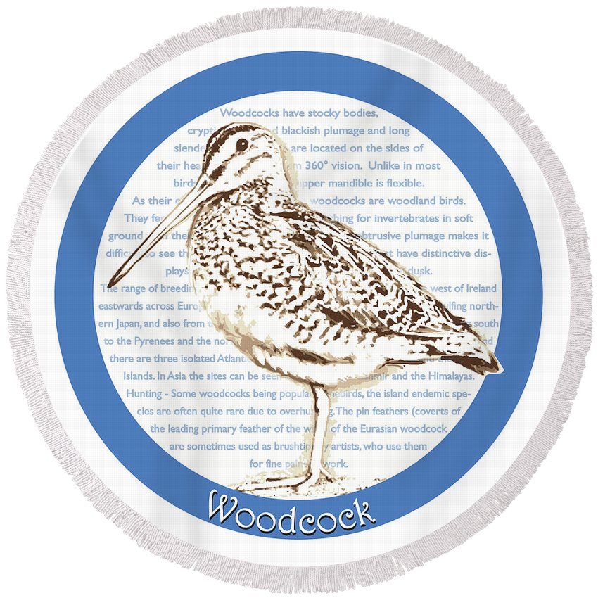 Woodcock Round Beach Towels