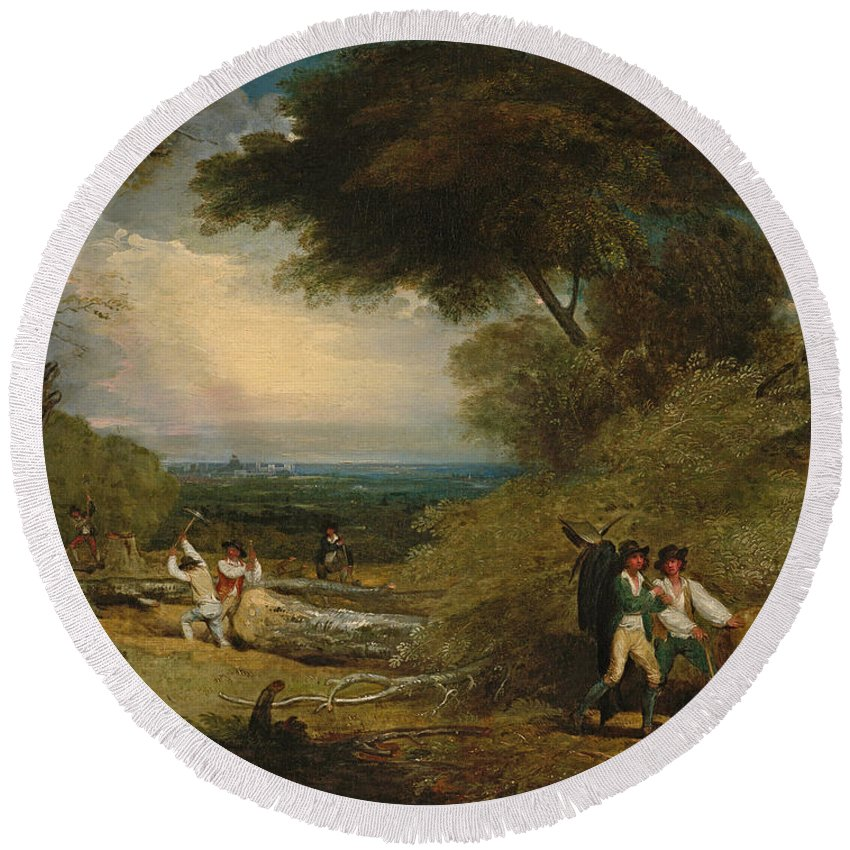 Benjamin West Round Beach Towel featuring the painting Woodcutters In Windsor Park by Benjamin West