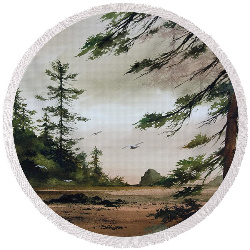 Landscape Print Round Beach Towel featuring the painting Wooded Shore by James Williamson
