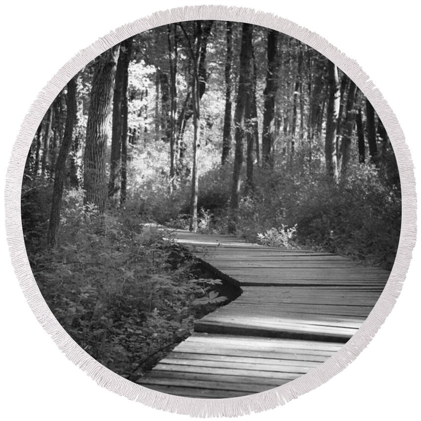 Black And White Round Beach Towel featuring the photograph Wooded Walk by Scott Wyatt