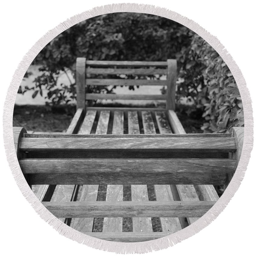 Bushes Round Beach Towel featuring the photograph Wooden Bench by Rob Hans