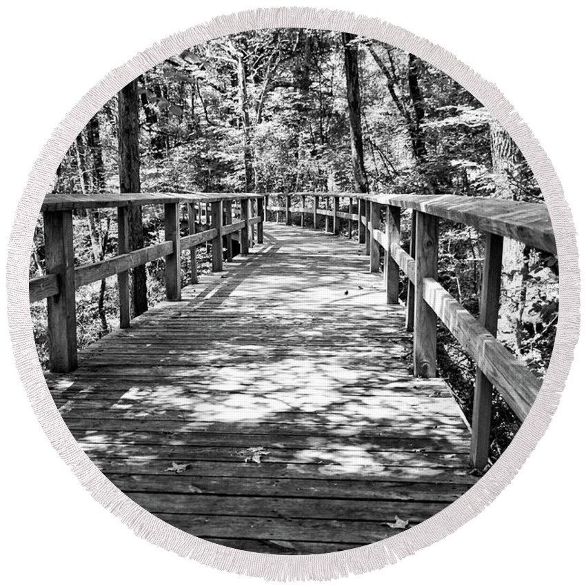 Walkway Round Beach Towel featuring the photograph Wooden Boardwalk B by John Myers