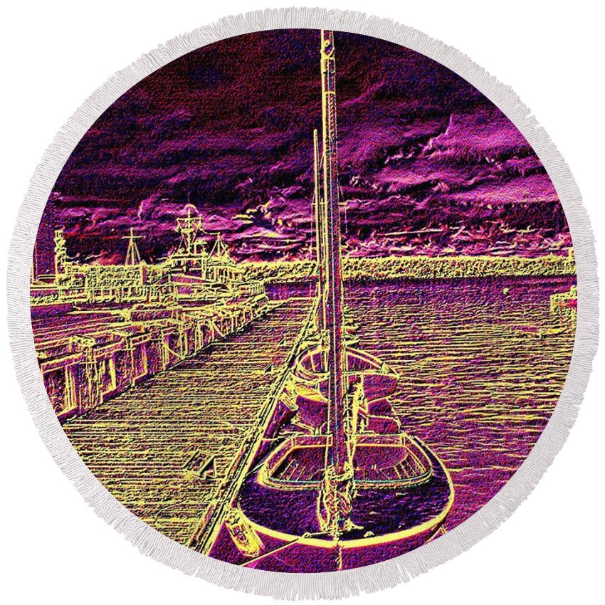 Seattle Round Beach Towel featuring the photograph Wooden Boat Moorage by Tim Allen