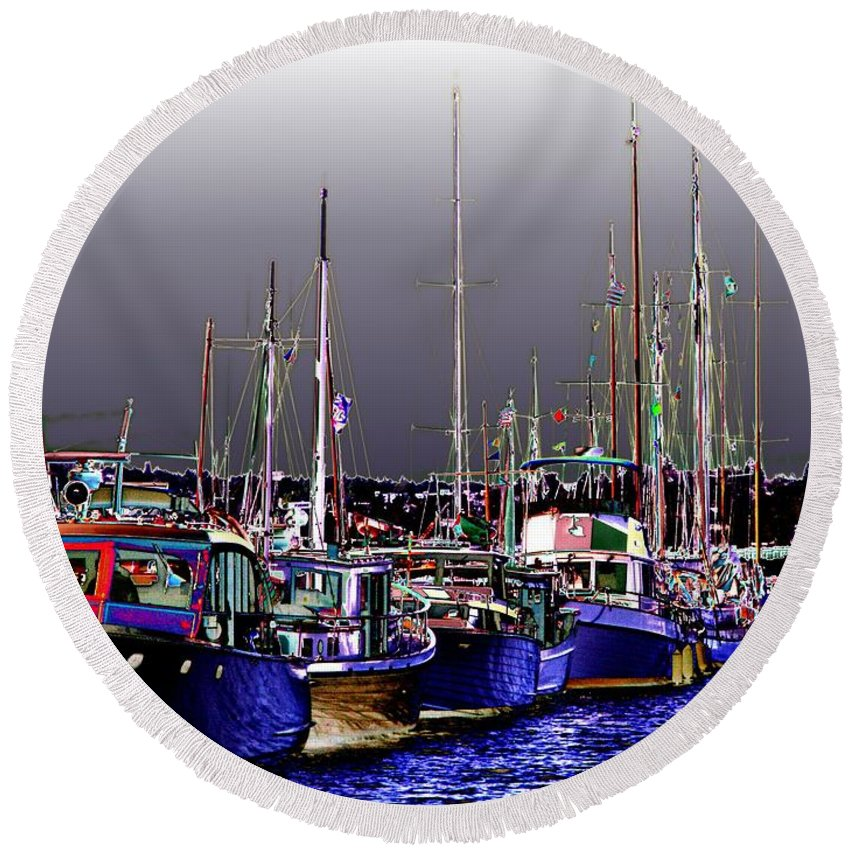 Seattle Round Beach Towel featuring the digital art Wooden Boats 2 by Tim Allen