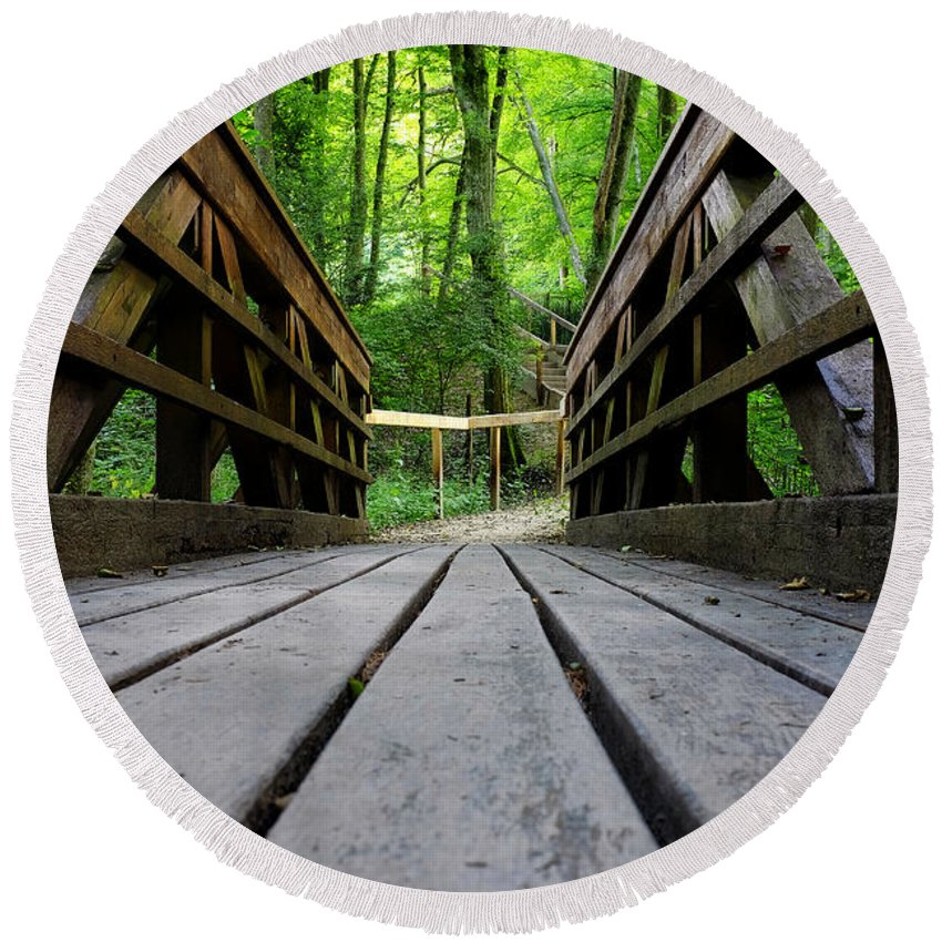 Bridge Round Beach Towel featuring the photograph Wooden Bridge by Fabrizio Troiani