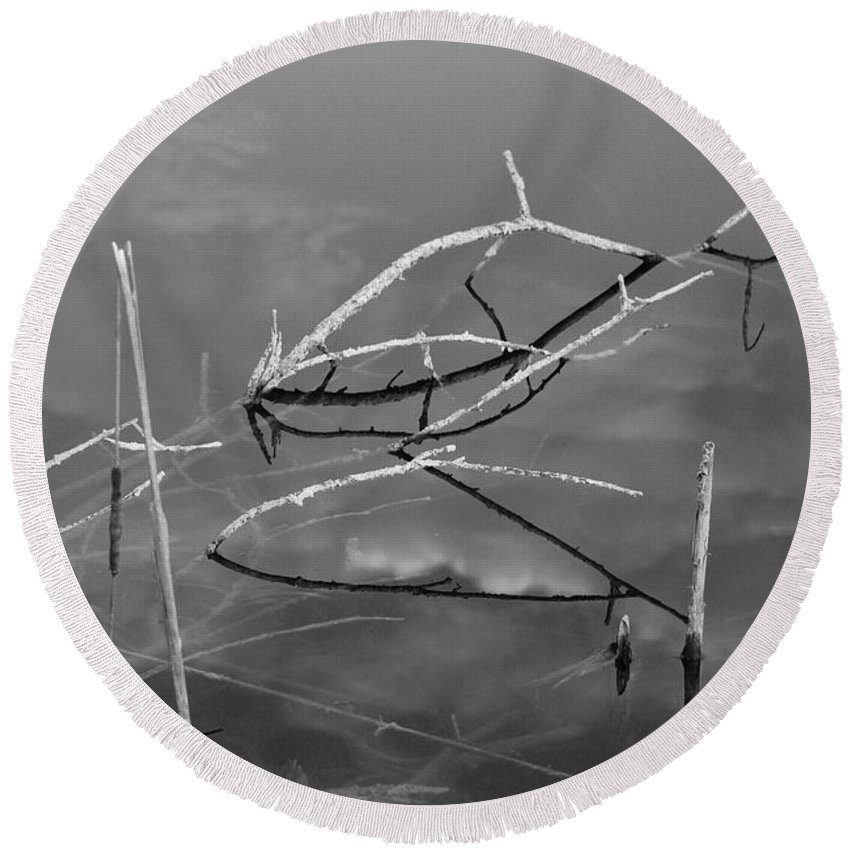 Black And White Round Beach Towel featuring the photograph Wooden Bridge by Rob Hans
