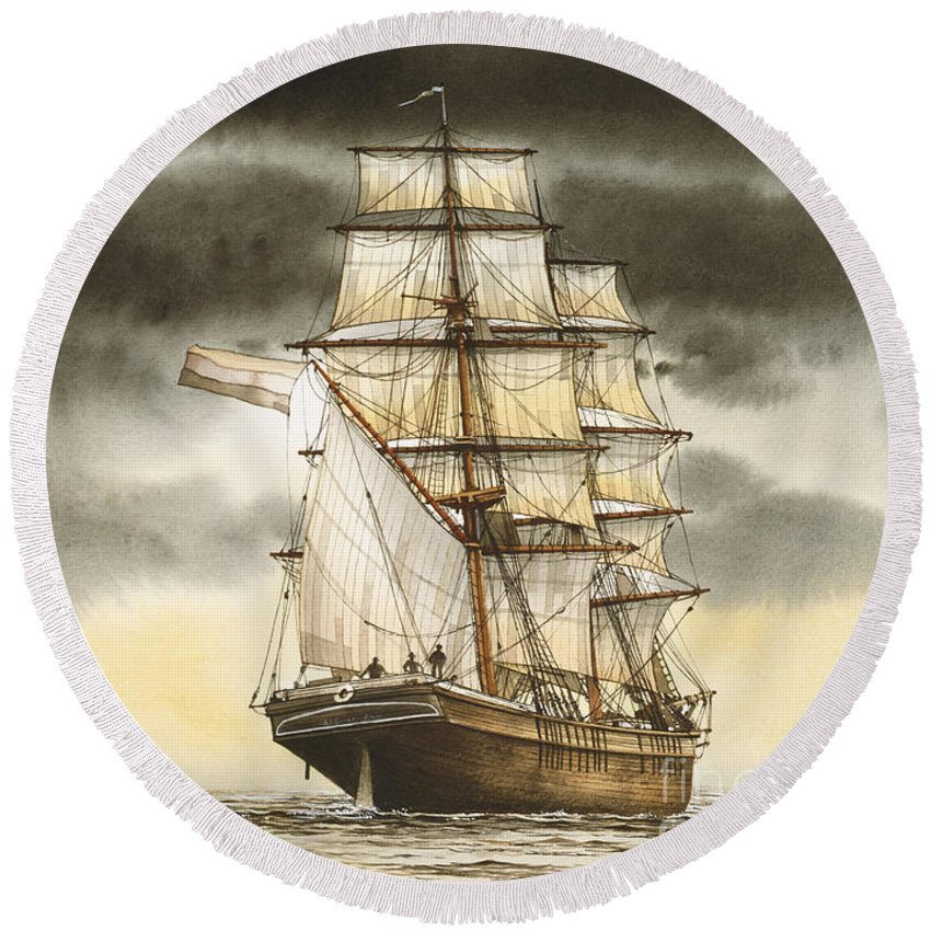 Tall Ship Print Round Beach Towel featuring the painting Wooden Brig Under Sail by James Williamson