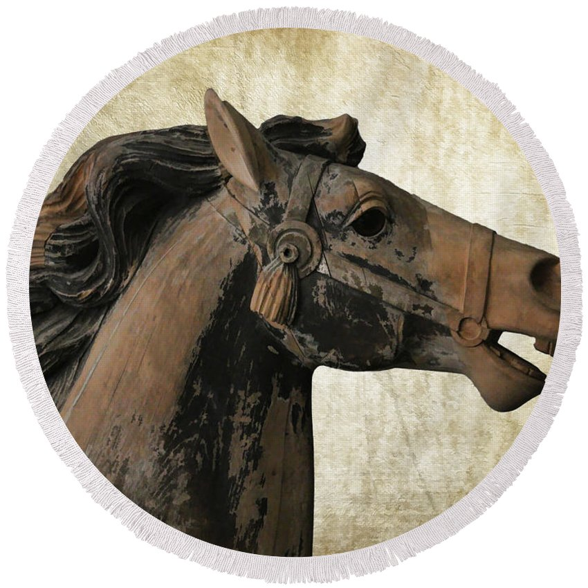 Wooden Carousel Horse Round Beach Towel featuring the photograph Wooden Carousel Horse by Athena Mckinzie