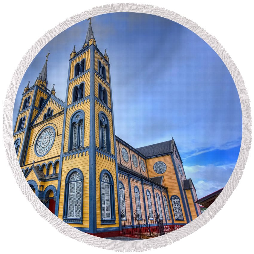 Church Round Beach Towel featuring the photograph Wooden Cathedral by Nadia Sanowar