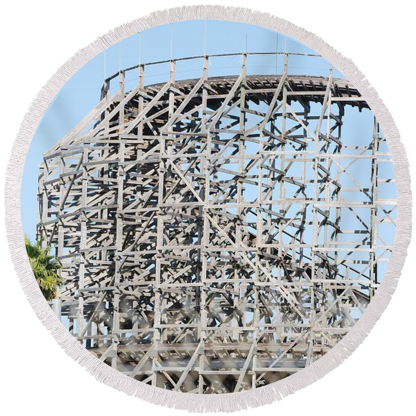 Pop Art Round Beach Towel featuring the photograph Wooden Coaster by Rob Hans