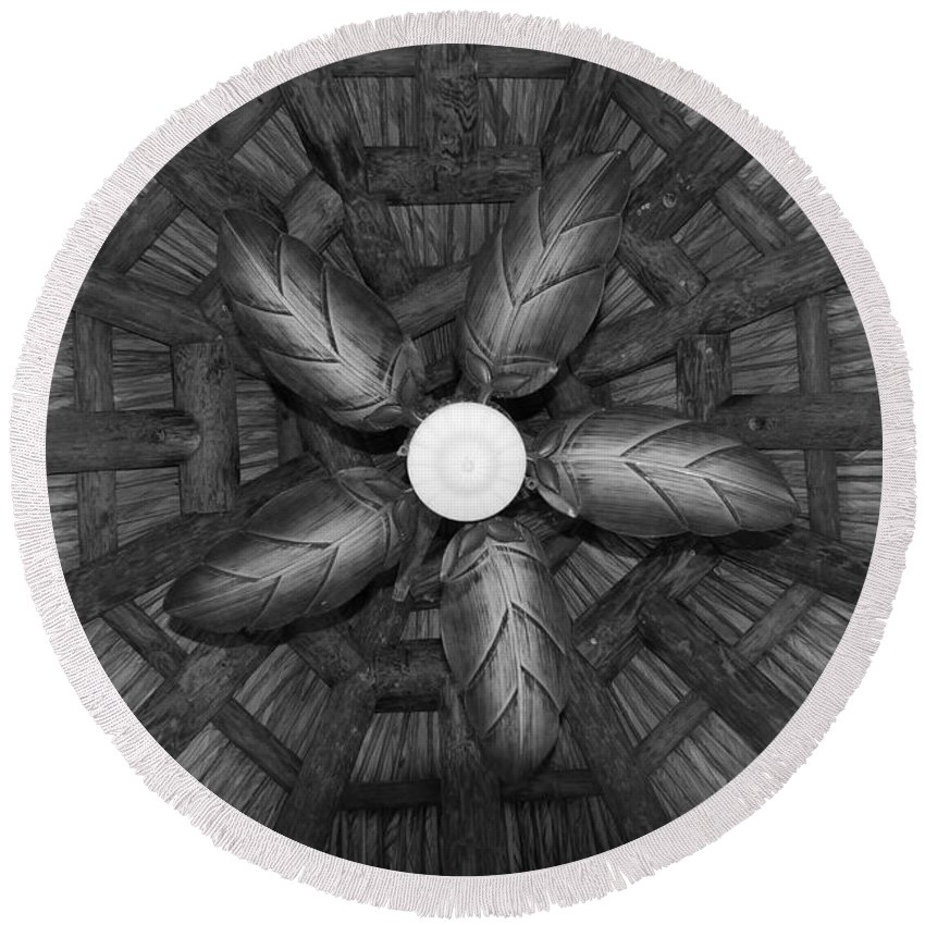Fan Round Beach Towel featuring the photograph Wooden Fan by Rob Hans