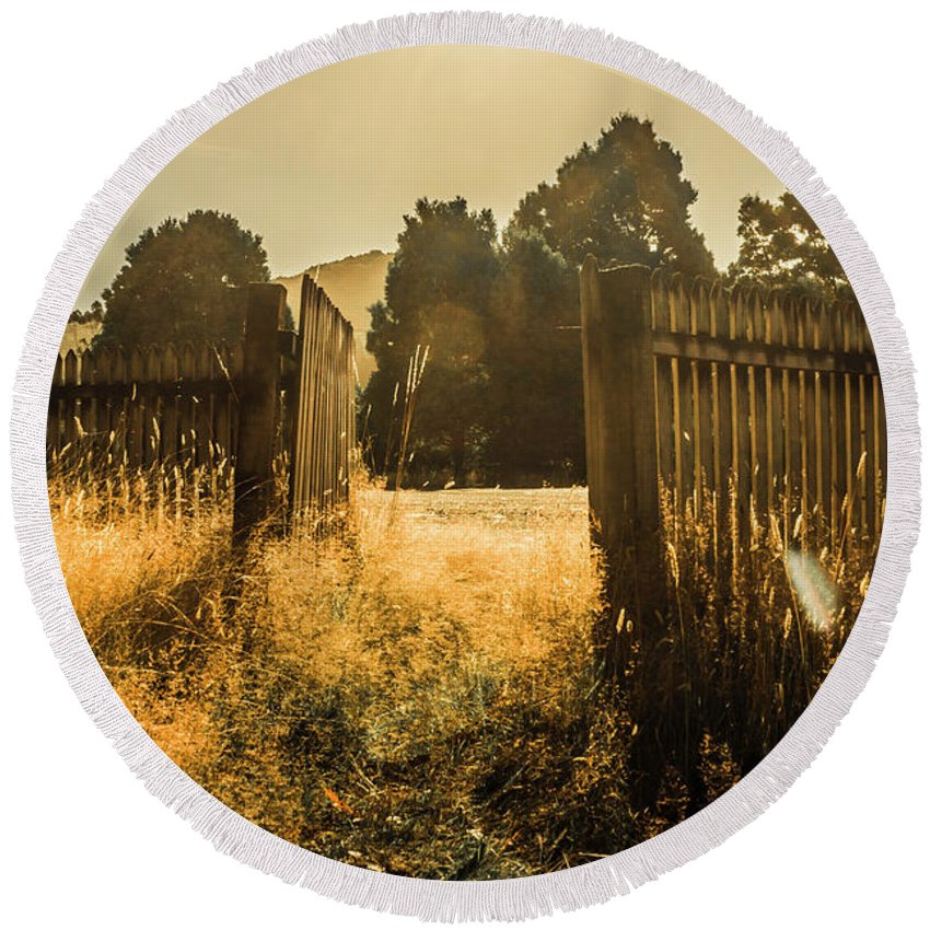 Shabby Round Beach Towel featuring the photograph Wooden Fence With An Open Gate by Jorgo Photography - Wall Art Gallery