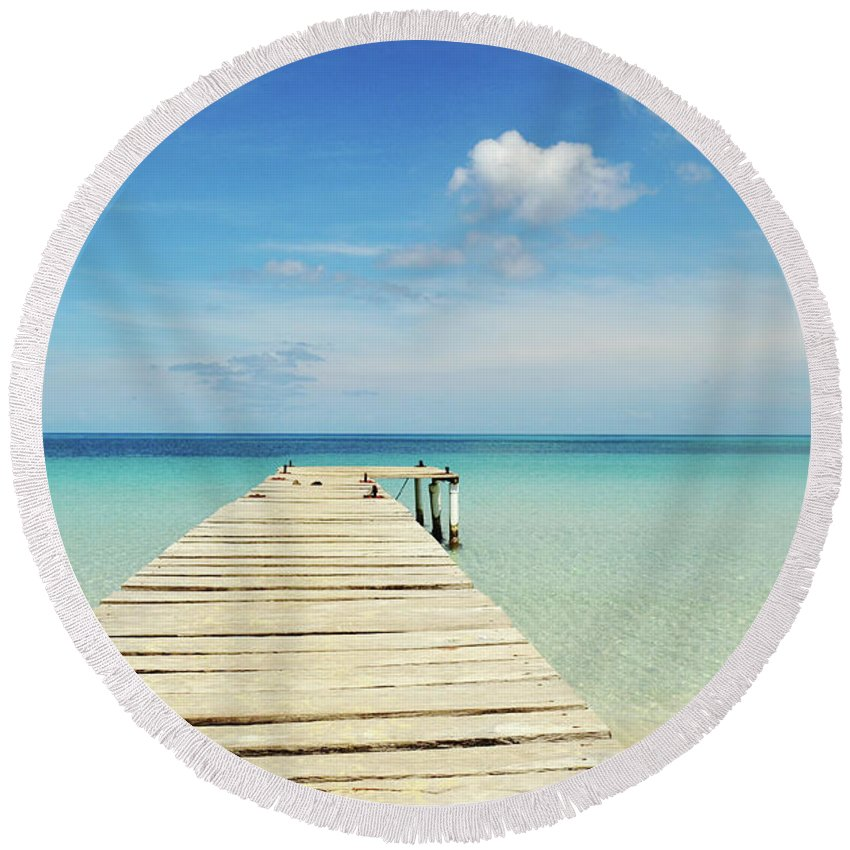 Background Round Beach Towel featuring the photograph Wooden Pier On A Perfect Tropical Caribbean White Sand Beach by Srdjan Kirtic