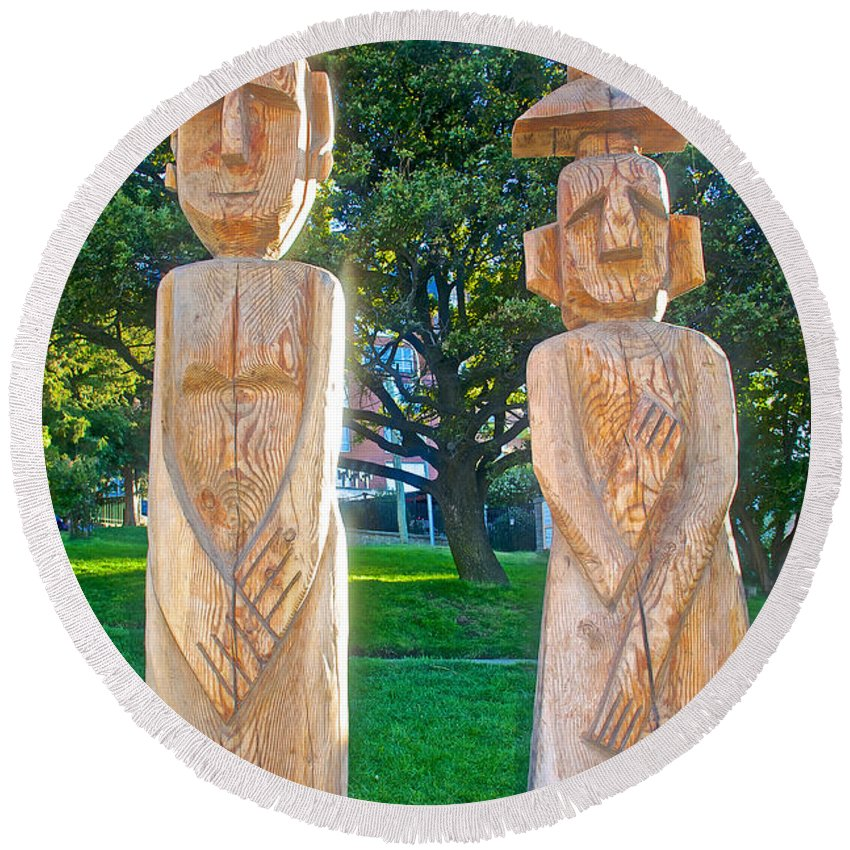 Wooden Sculptures In Central Park In Bariloche Round Beach Towel featuring the photograph Wooden Sculptures In Central Park In Bariloche-argentina by Ruth Hager