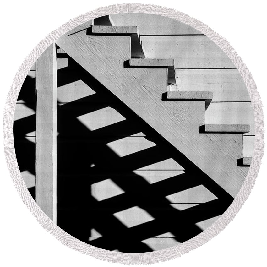 Stairs Round Beach Towel featuring the photograph Wooden Stairs by Garry Gay