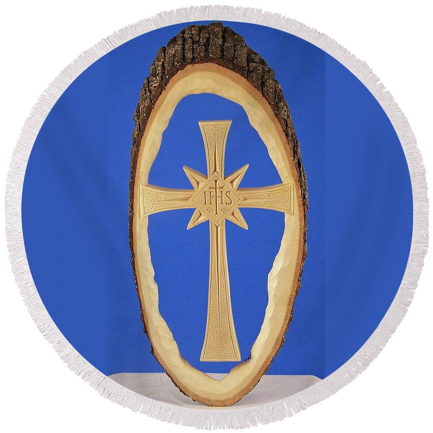 Woodland Cross Round Beach Towel featuring the photograph Woodland Cross by James Pinkerton